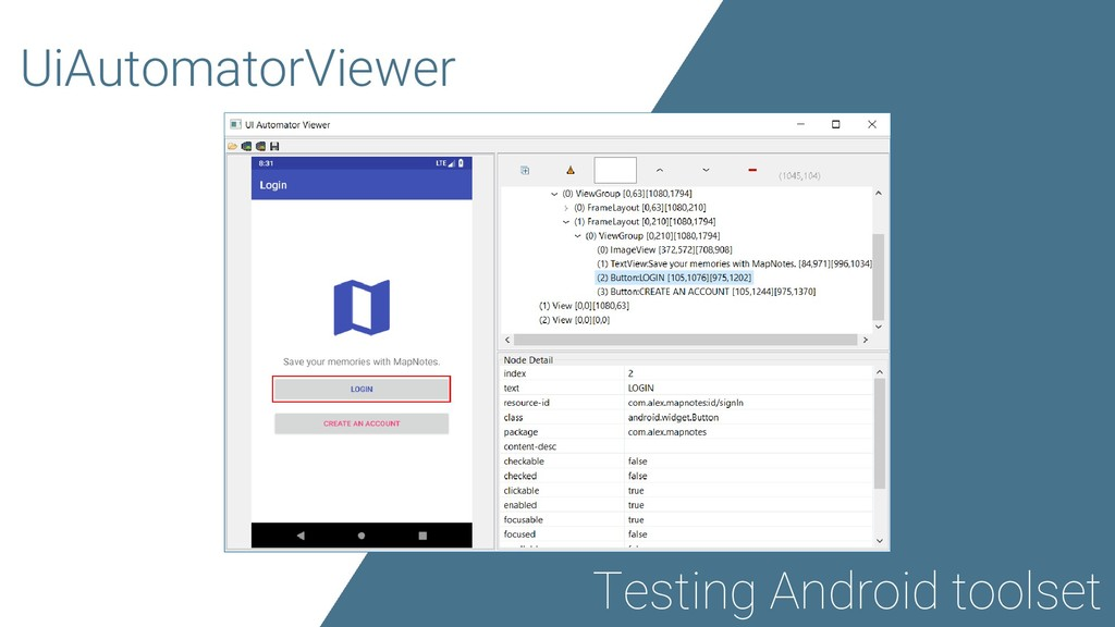 UiAutomatorViewer Testing Android toolset
