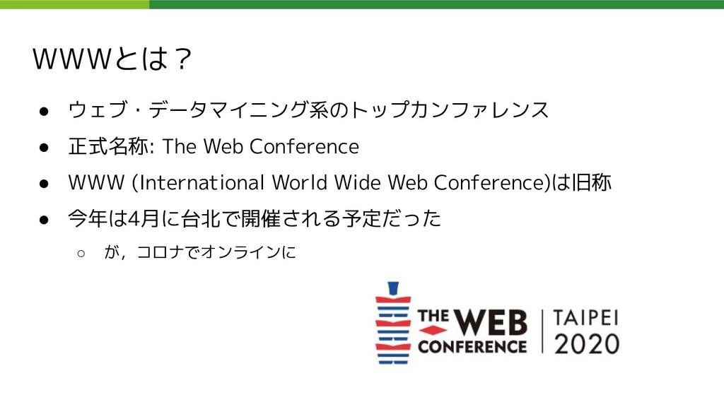 WWWとは? ● ウェブ・データマイニング系のトップカンファレンス ● 正式名称: The W...