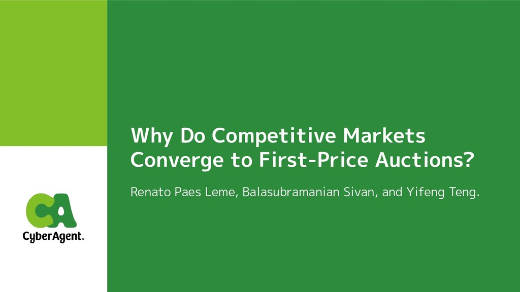 Why Do Competitive Markets Converge to First-Pr...