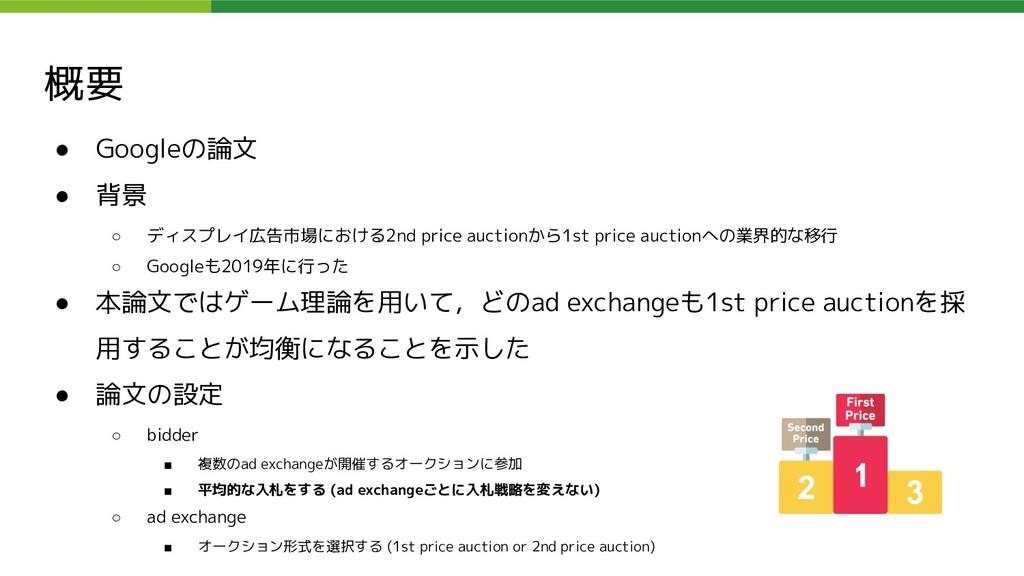 概要 ● Googleの論文 ● 背景 ○ ディスプレイ広告市場における2nd price a...