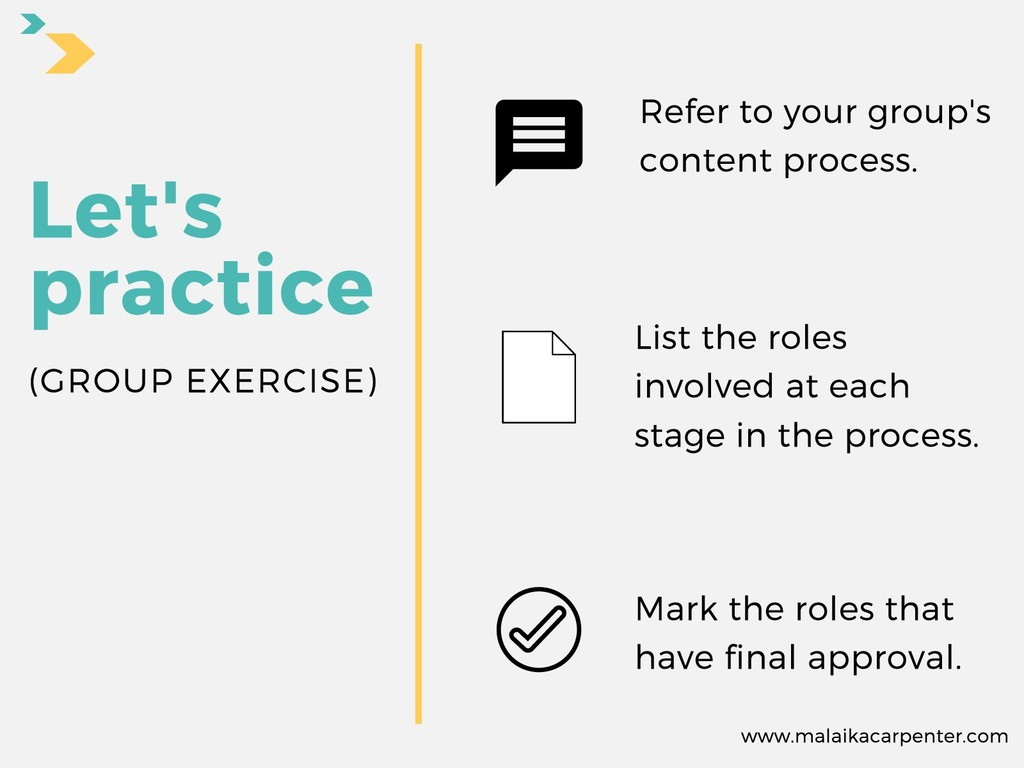 Refer to your group's content process. List the...