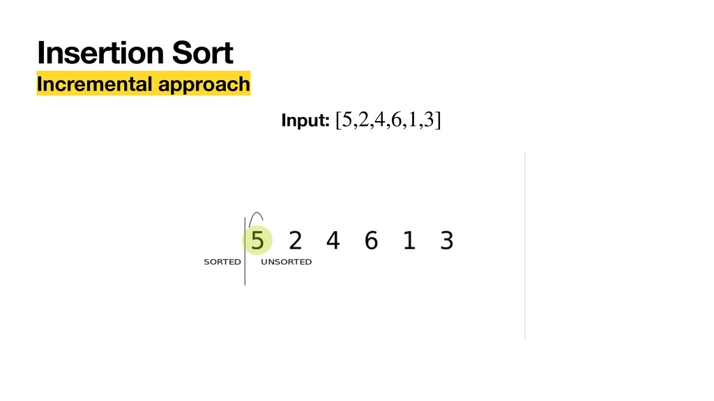 Insertion Sort Incremental approach Input: [5,2...