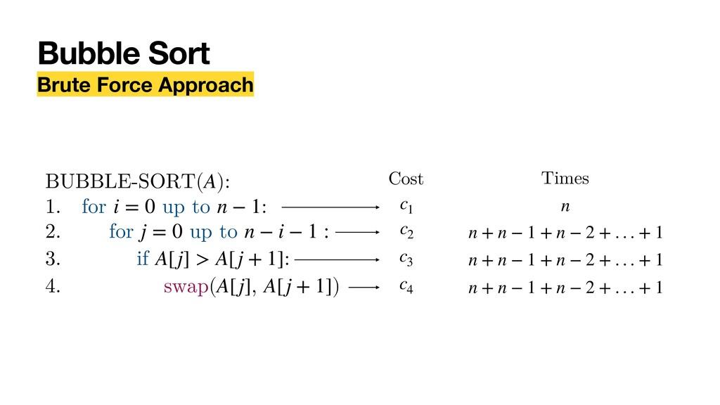 Bubble Sort Brute Force Approach BUBBLE-SORT( )...