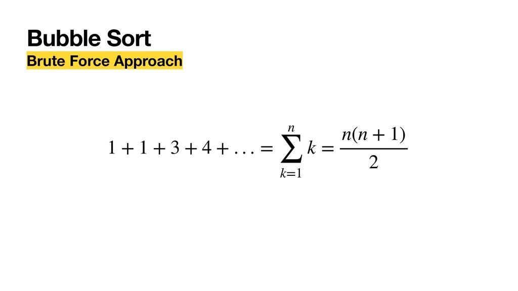 Bubble Sort Brute Force Approach 1 + 1 + 3 + 4 ...