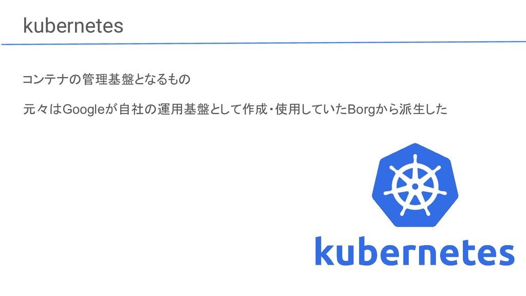 kubernetes コンテナの管理基盤となるもの 元々はGoogleが自社の運用基盤として作...