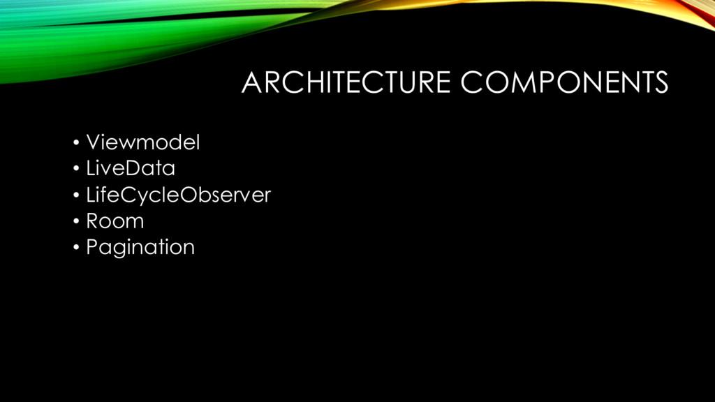ARCHITECTURE COMPONENTS • Viewmodel • LiveData ...