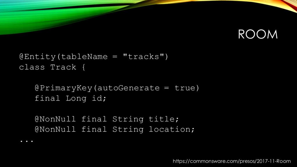 "ROOM @Entity(tableName = ""tracks"") class Track ..."