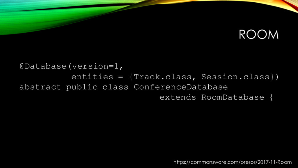 ROOM @Database(version=1, entities = {Track.cla...