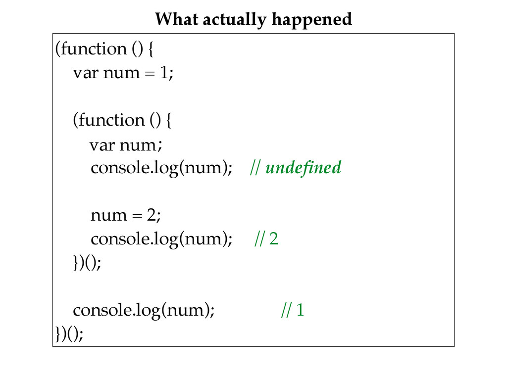 What actually happened (function () {
