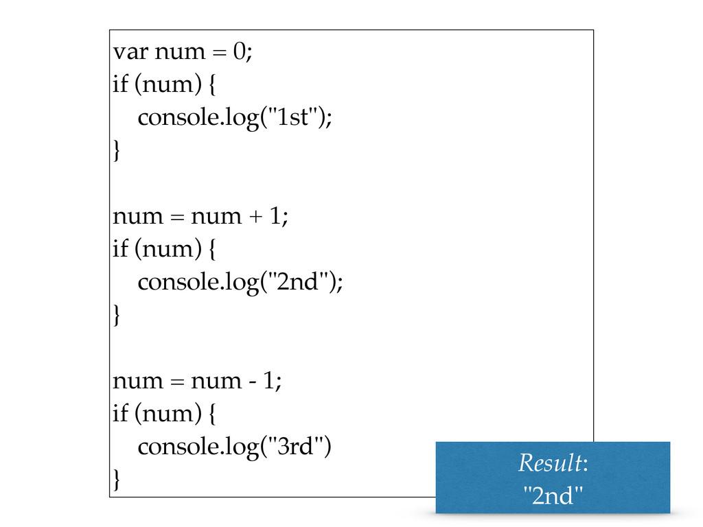 """var num = 0; if (num) { console.log(""""1st""""); ..."""