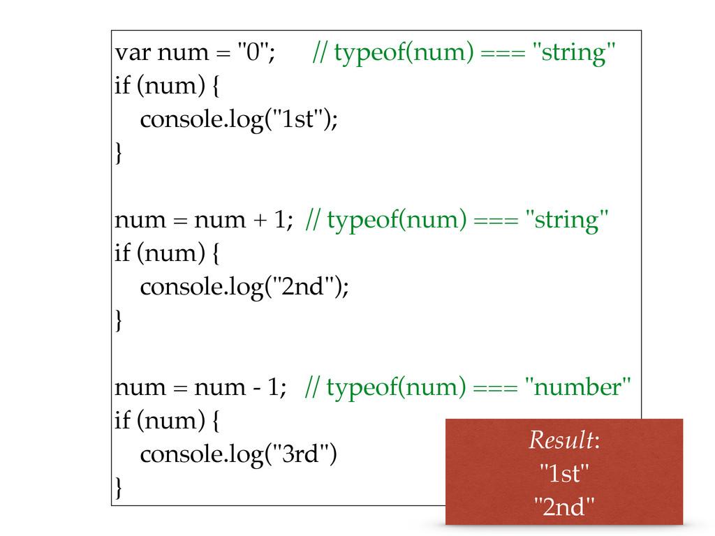 """var num = """"0""""; // typeof(num) === """"string"""" if ..."""
