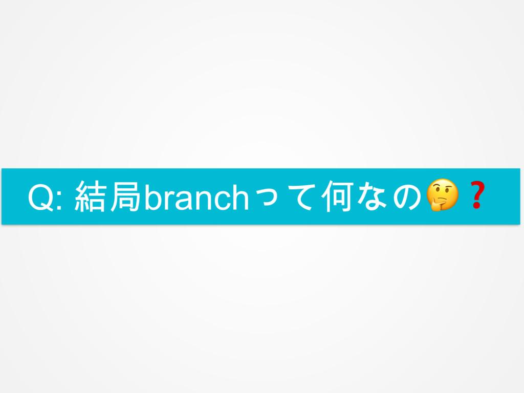 Q: 結局branchって何なの❓
