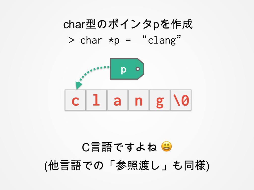 C言語ですよね  (他言語での「参照渡し」も同様) char型のポインタpを作成 > char...