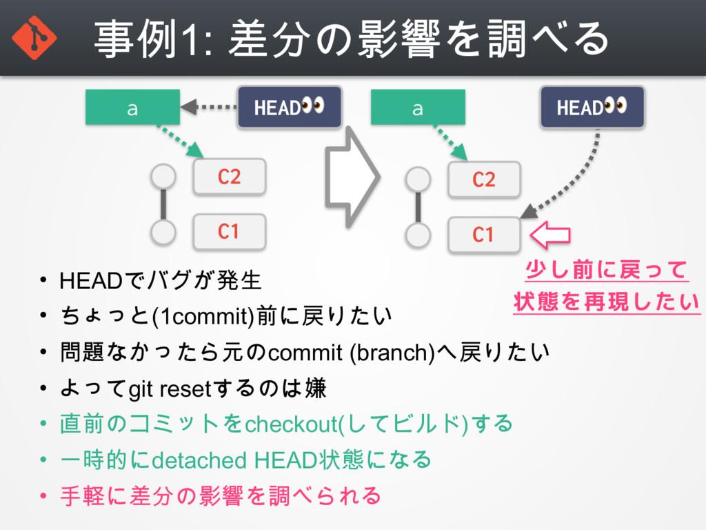 事例1: 差分の影響を調べる • HEADでバグが発生 • ちょっと(1commit)前に戻り...