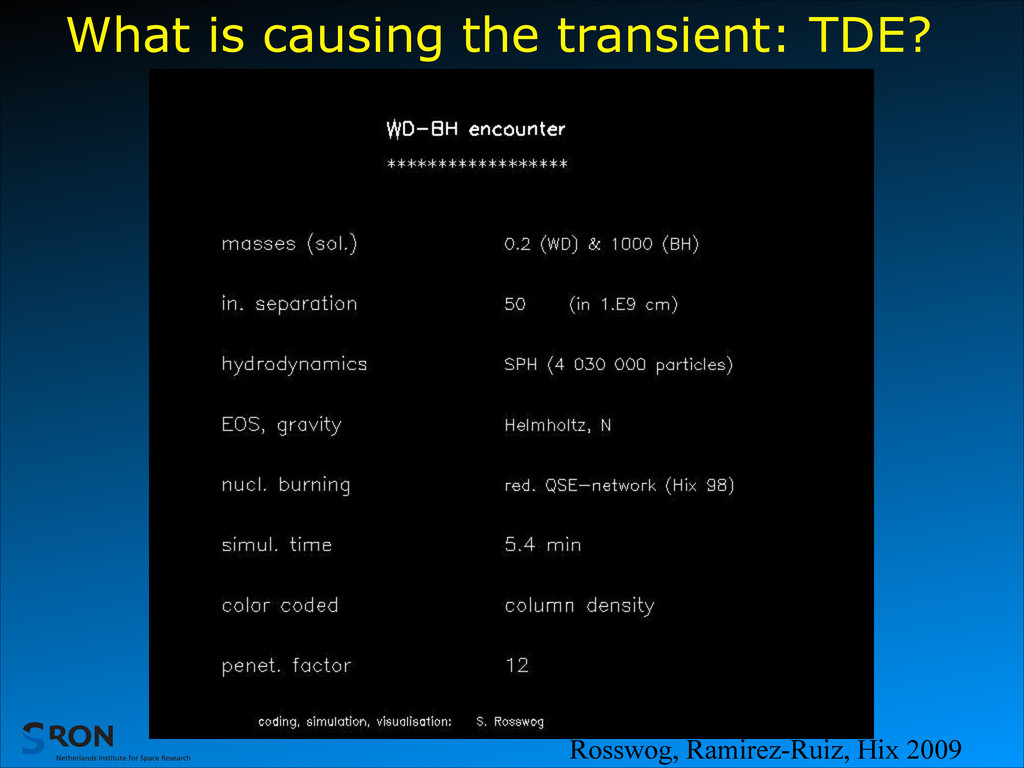 What is causing the transient: TDE? Rosswog, Ra...