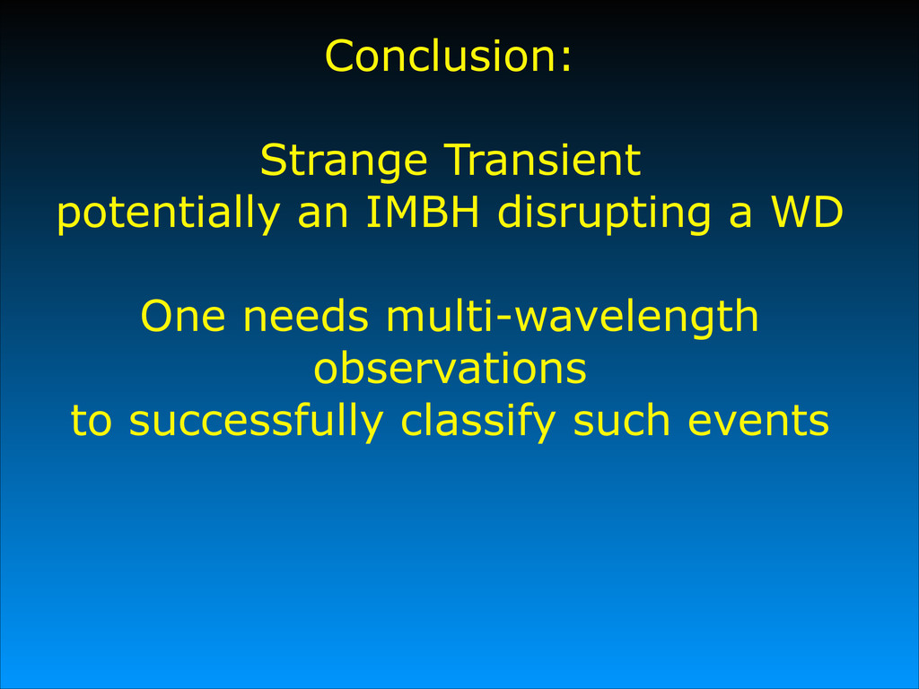 Conclusion: # Strange Transient potentially an ...