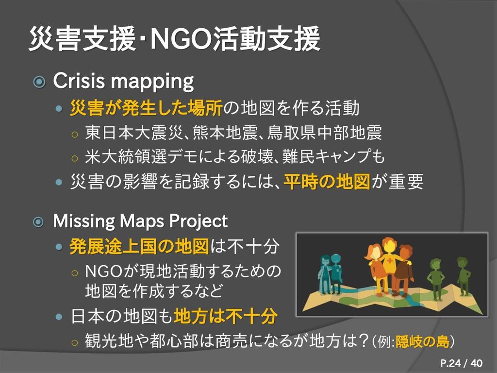 災害支援・NGO活動支援  Crisis mapping  災害が発生した場所の地図を作る...