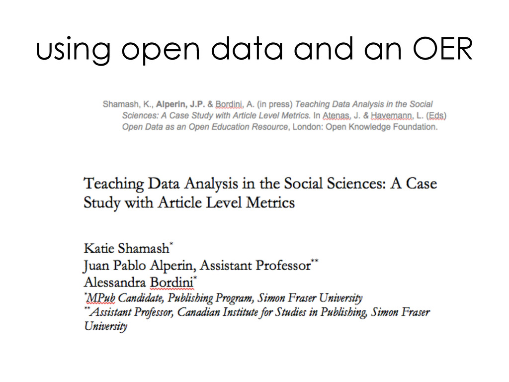 using open data and an OER