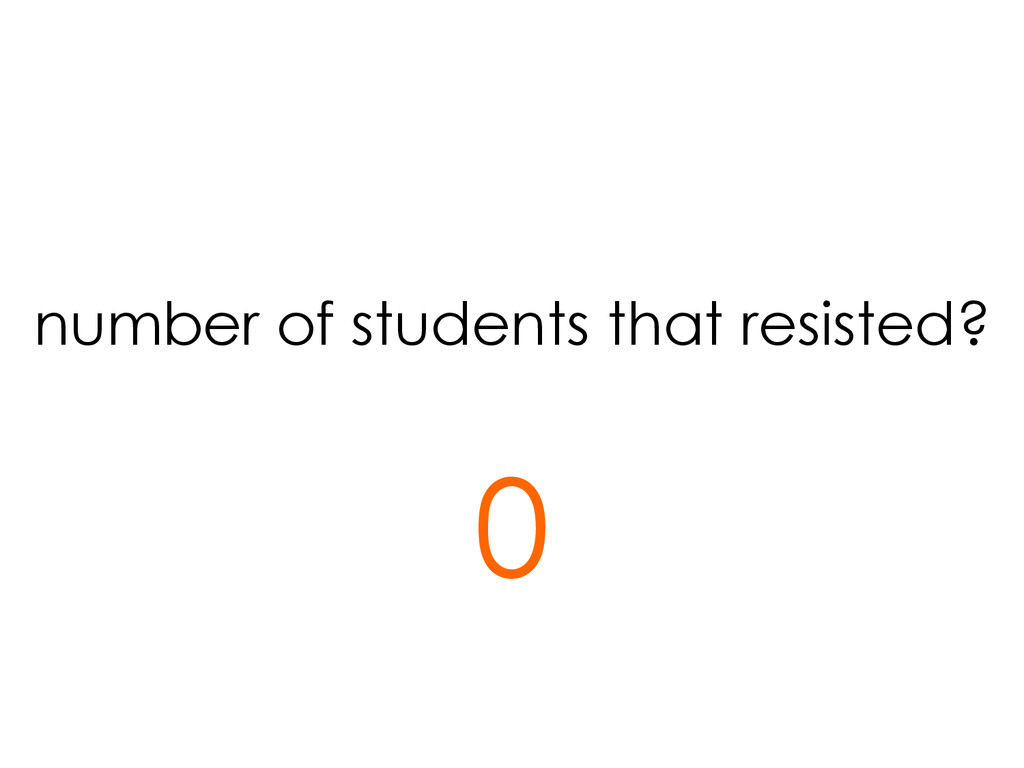 number of students that resisted? 0