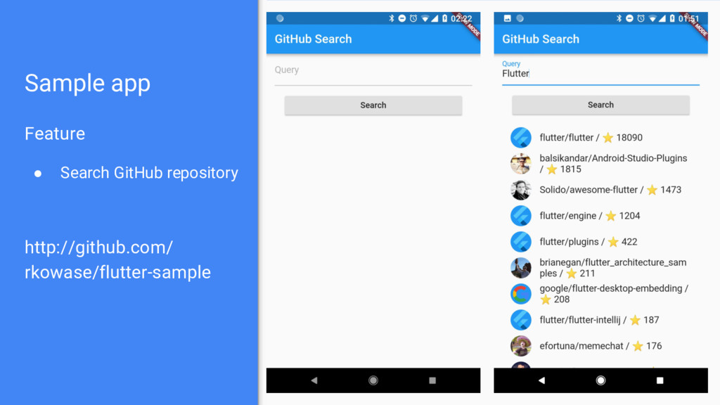 Sample app Feature ● Search GitHub repository h...