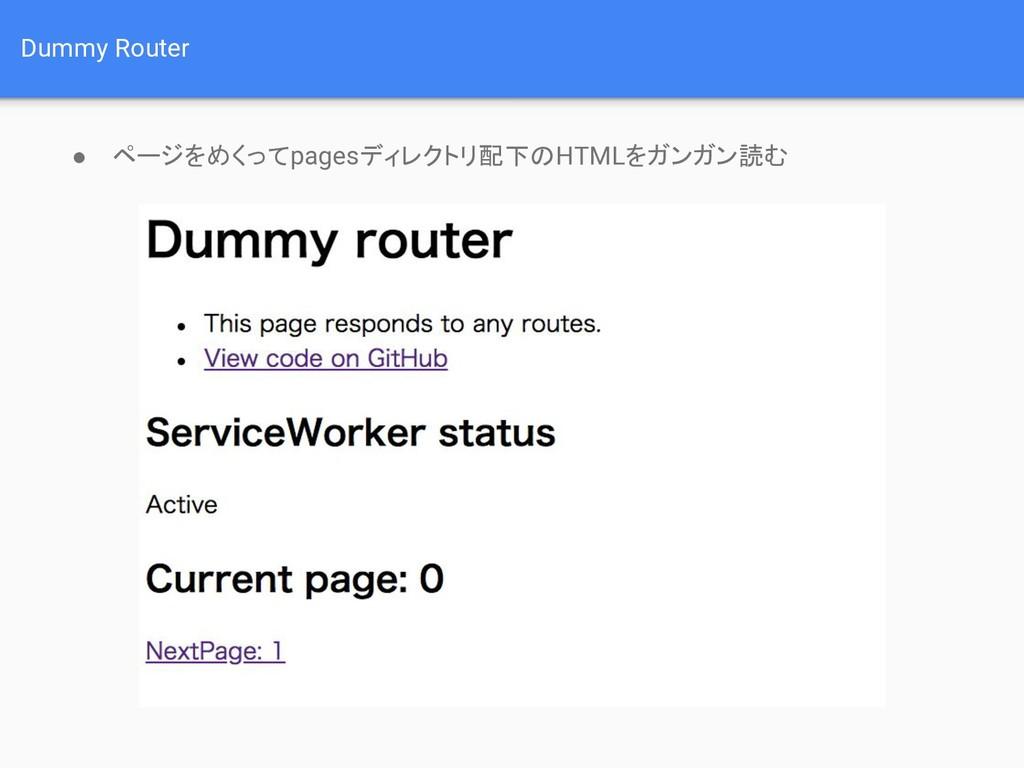 Dummy Router ● ページをめくってpagesディレクトリ配下のHTMLをガンガン読む