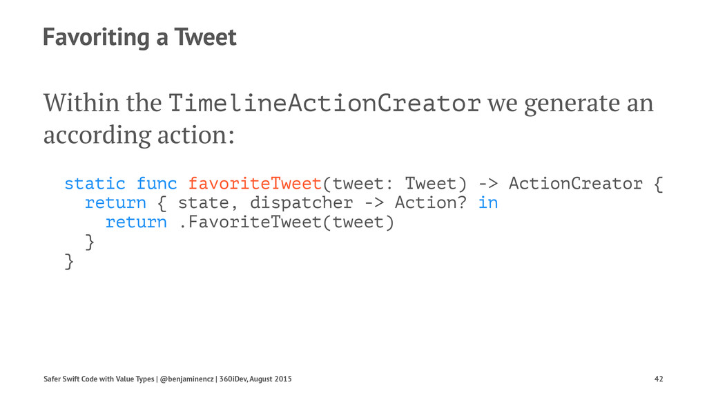 Favoriting a Tweet Within the TimelineActionCre...