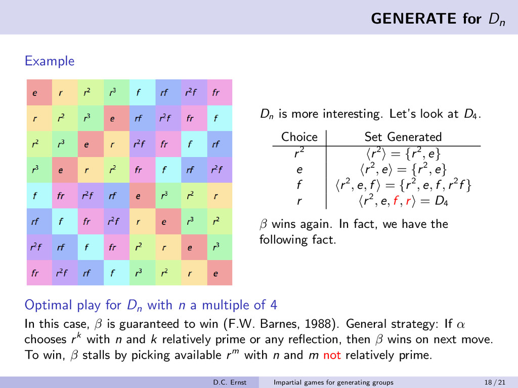 GENERATE for Dn Example Dn is more interesting....