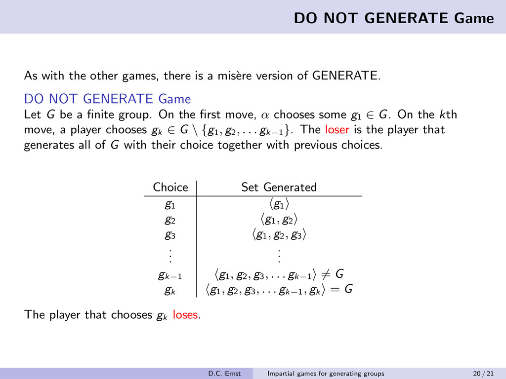 DO NOT GENERATE Game As with the other games, t...