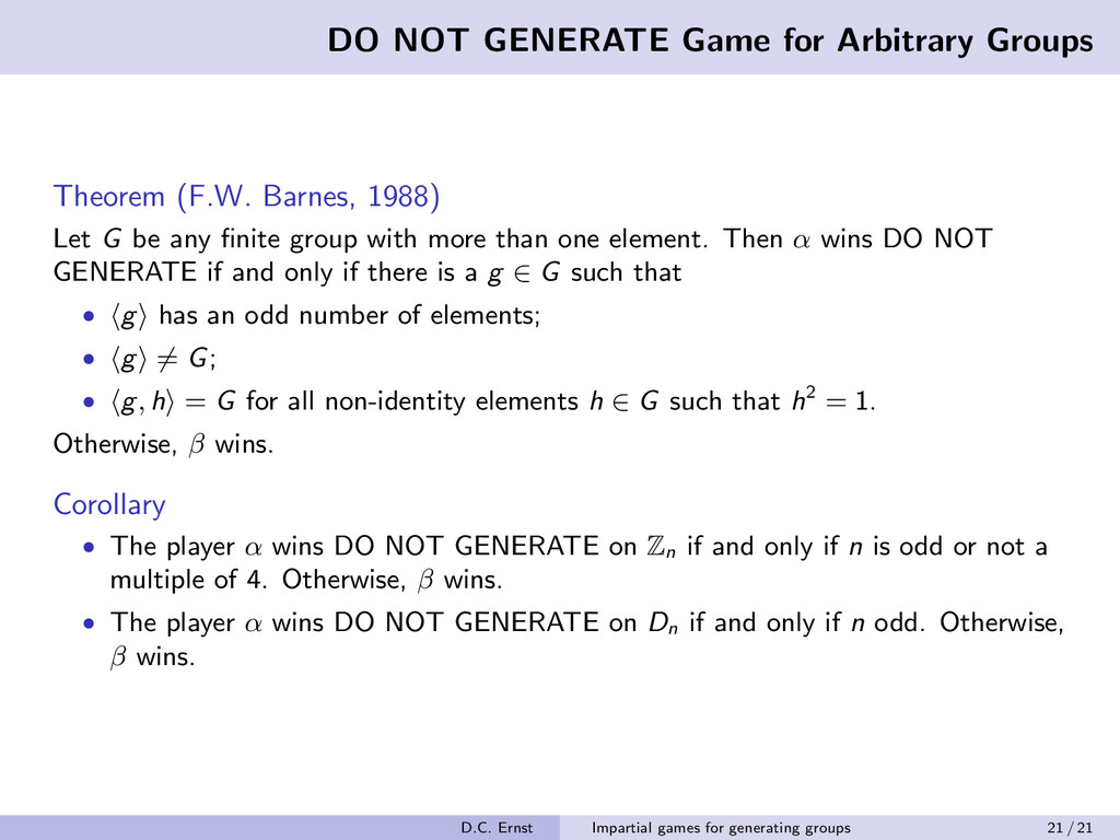 DO NOT GENERATE Game for Arbitrary Groups Theor...