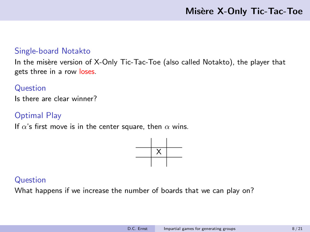Mis` ere X-Only Tic-Tac-Toe Single-board Notakt...