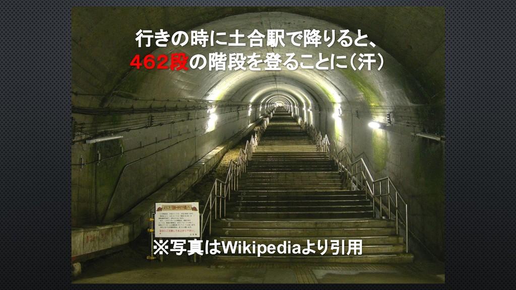 行きの時に土合駅で降りると、 462段の階段を登ることに(汗) ※写真はWikipediaより...