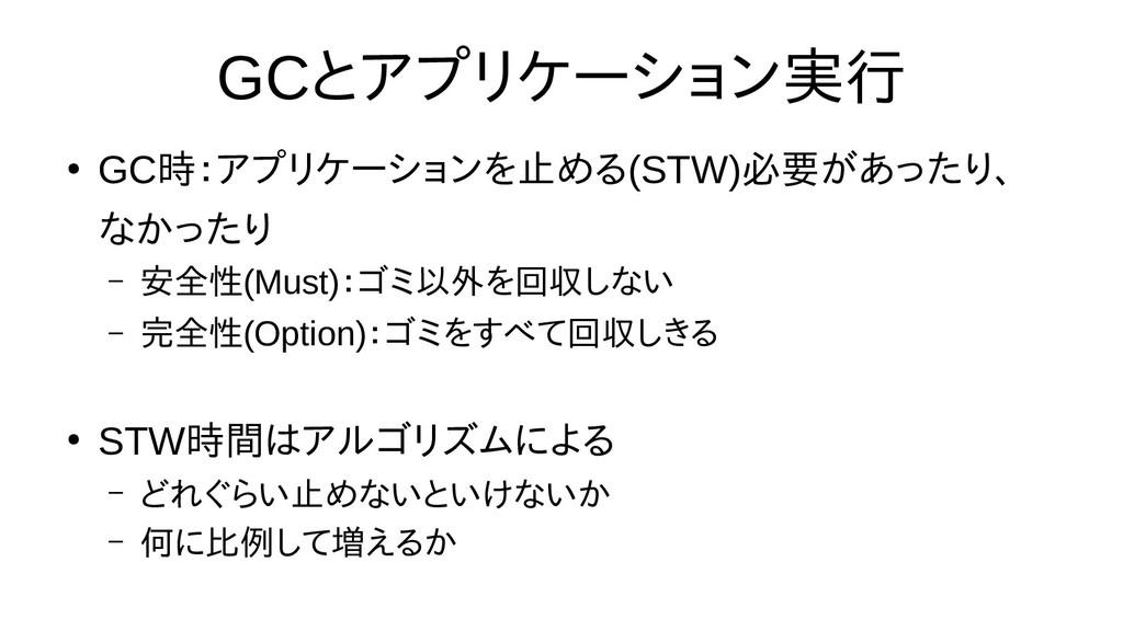 GCとアプリ分割ケーション実行う場合がある ● GC時:アプリケーショアプリ分割ケーションを止...