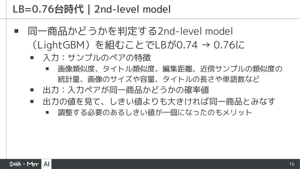 16 ▪ 同一商品かどうかを判定する2nd-level model (LightGBM)を組む...