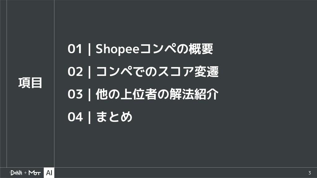 3 項目 01 Shopeeコンペの概要 02 コンペでのスコア変遷 03 他の上位者の解法紹...