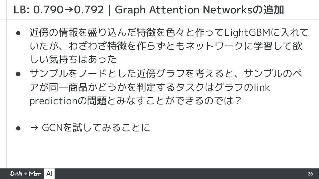 26 ● 近傍の情報を盛り込んだ特徴を色々と作ってLightGBMに入れて いたが、わざわざ特...