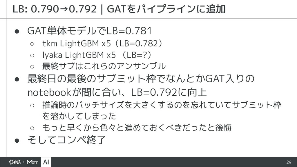 29 ● GAT単体モデルでLB=0.781 ○ tkm LightGBM x5(LB=0.7...