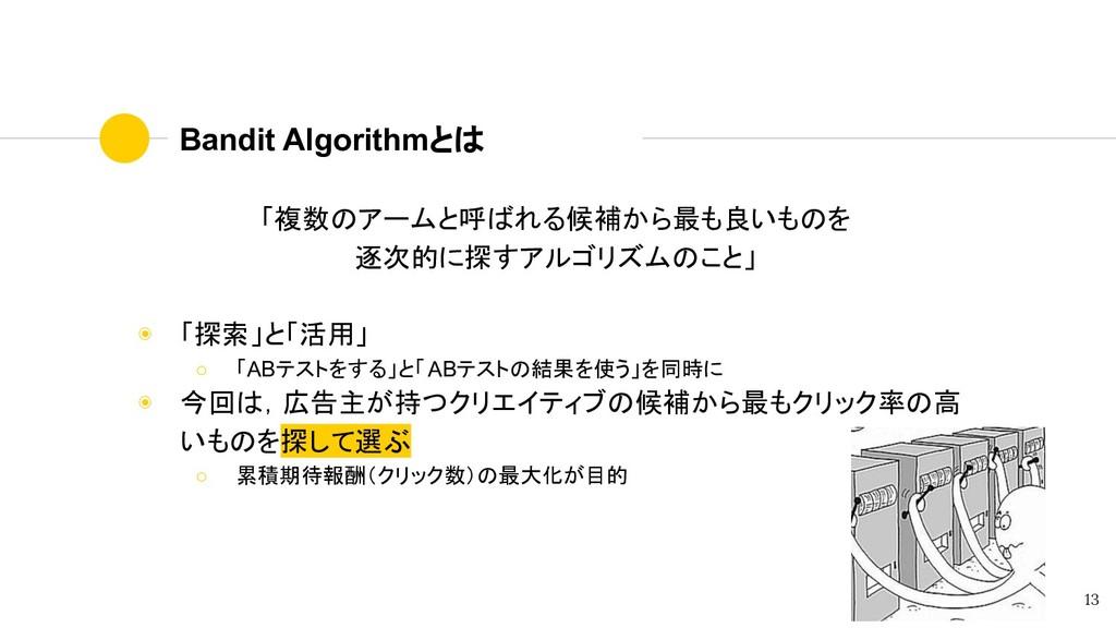 Bandit Algorithmとは 「複数のアームと呼ばれる候補から最も良いものを 逐次的に...