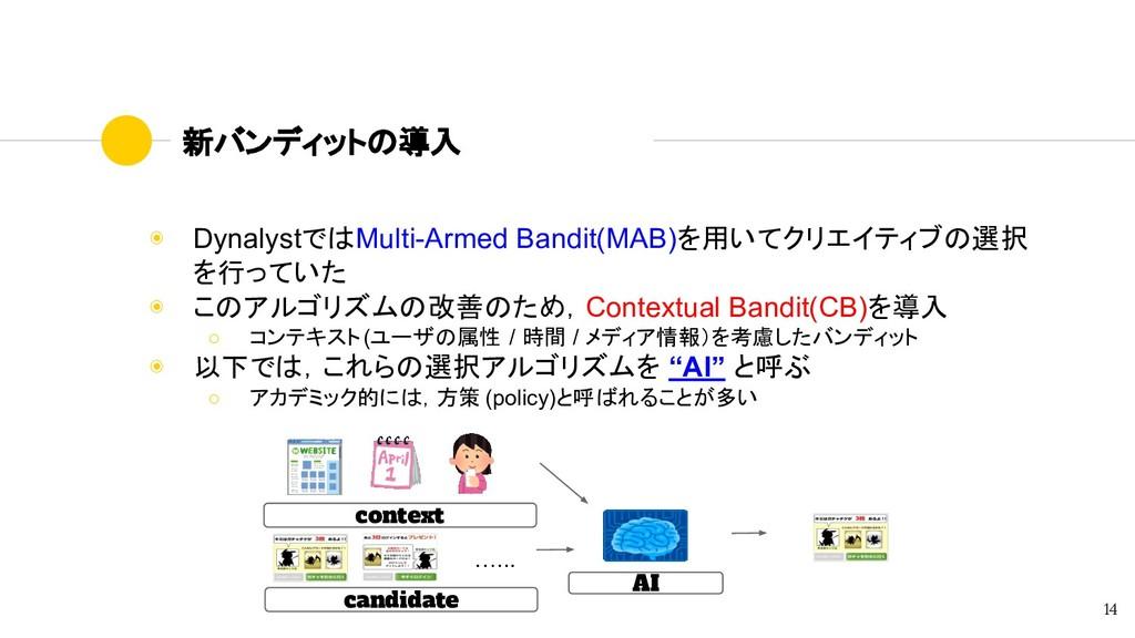 新バンディットの導入 ◉ DynalystではMulti-Armed Bandit(MAB)を...