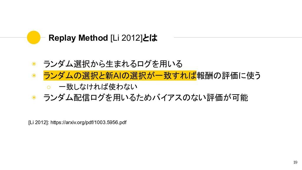 Replay Method [Li 2012]とは ◉ ランダム選択から生まれるログを用いる ...