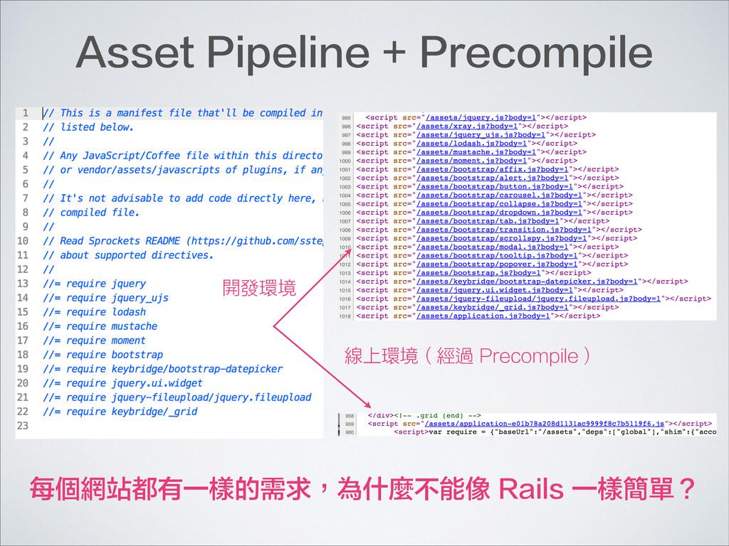 開發環境 線上環境(經過 Precompile) Asset Pipeline + Preco...