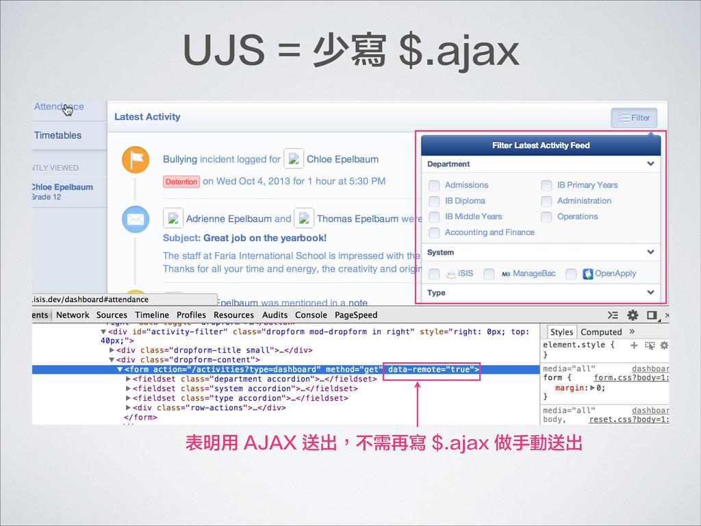 表明用 AJAX 送出,不需再寫 $.ajax 做手動送出 UJS = 少寫 $.ajax