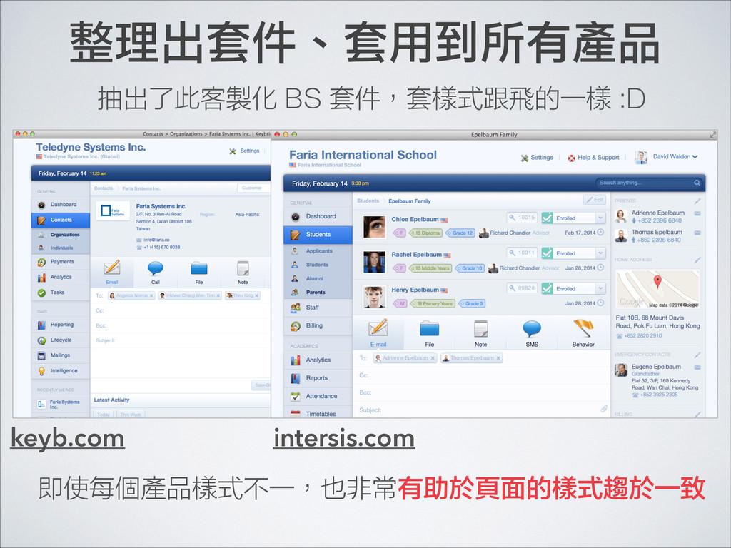 整理出套件、套用到所有產品 keyb.com intersis.com 即使每個產品樣式不一,...