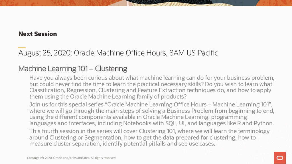 Next Session August 25, 2020: Oracle Machine Of...