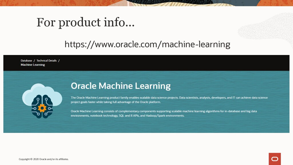 For product info… https://www.oracle.com/machin...