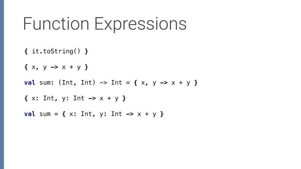 Function Expressions { x, y -> x + y } { x: Int...