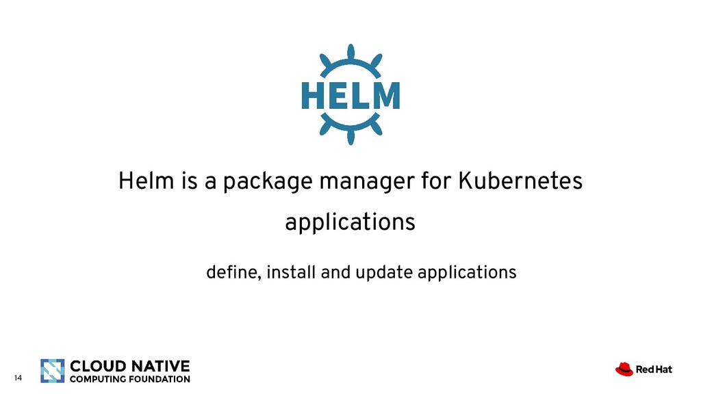 14 Helm is a package manager for Kubernetes app...