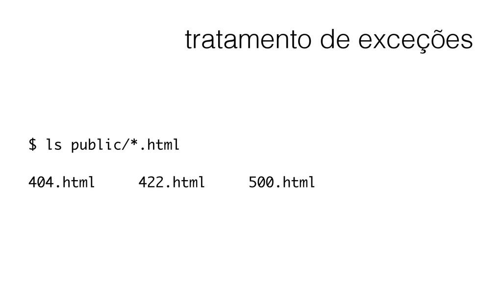 tratamento de exceções $ ls public/*.html ! 404...
