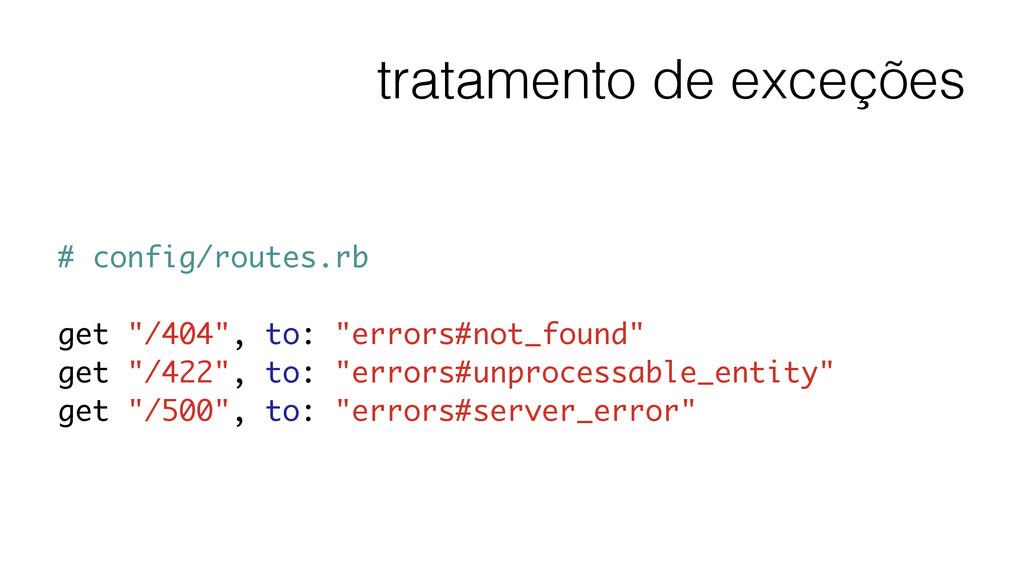 tratamento de exceções # config/routes.rb ! get...