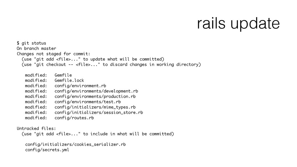 rails update $ git status On branch master Chan...