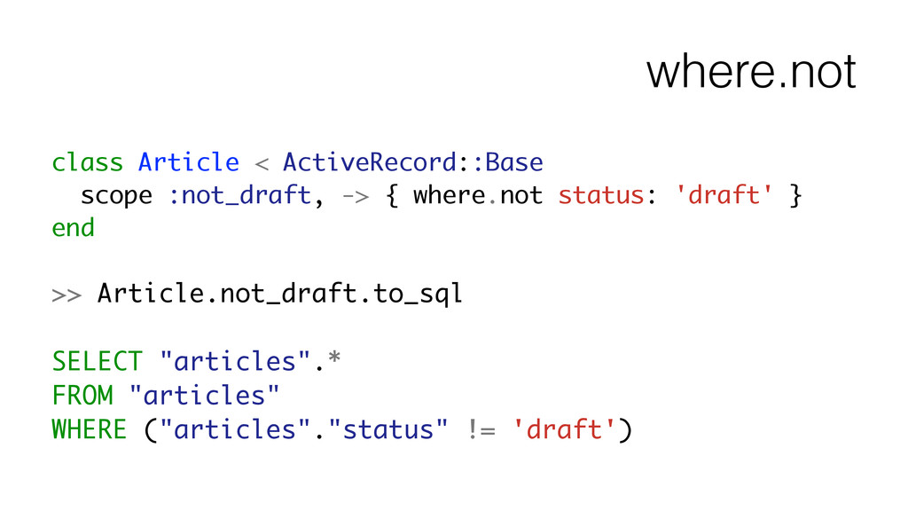 where.not class Article < ActiveRecord::Base sc...